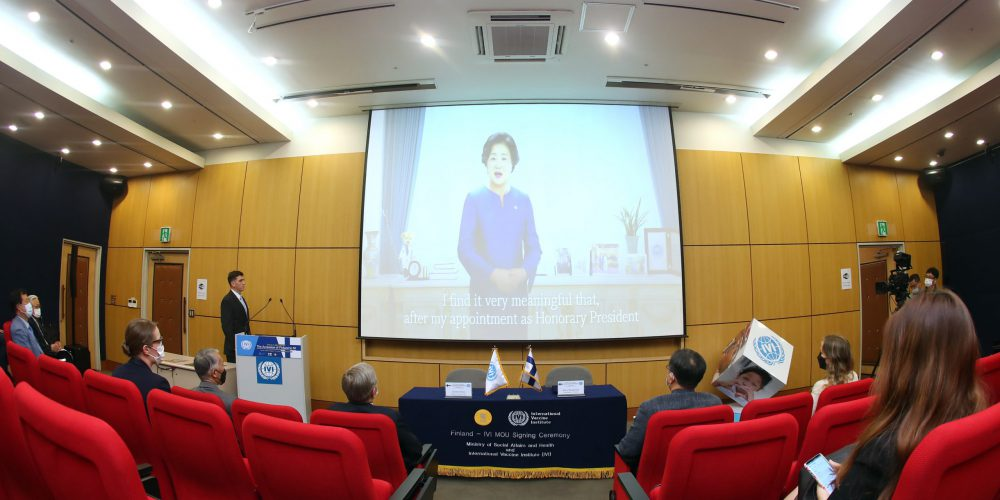Madame Kim Jung-sook, First Lady of South Korea, congratulates Finland's accession to IVI with a pre-recorded message.