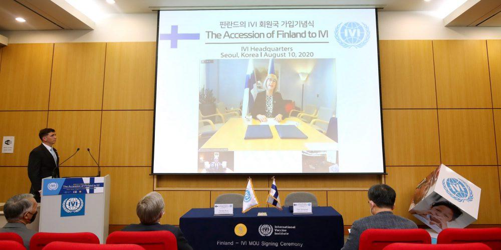 Minister Aino-Kaisa Pekonen gives welcome remarks live from Helsinki.