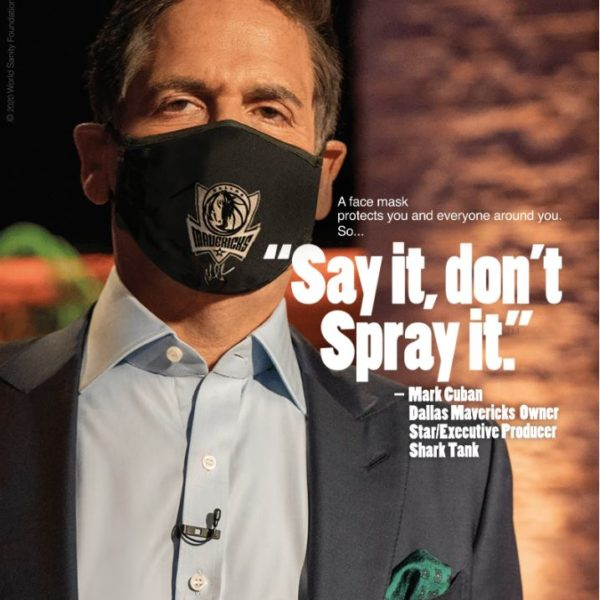 Mark Cuban, American entrepreneur and owner of the NBA's Dallas Mavericks, stars in a global campaign to promote the use of face masks to reduce the spread of COVID-19.